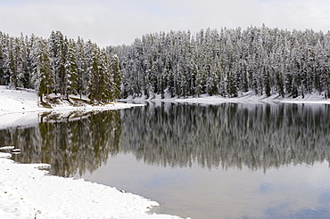 Yellowstone River in winter, Yellowstone National Park, UNESCO World Heritage Site, Wyoming, United States of America, North America