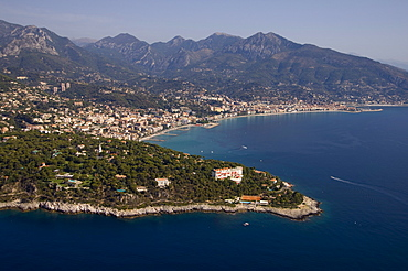 View from helicopter of Roquebrune, Cap Martin, Provence, Cote d'Azur, French Riviera, France, Mediterranean, Europe