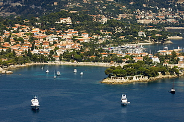 View from helicopter of St. Jean Cap Ferrat, Alpes-Maritimes, Provence, Cote d'Azur, French Riviera, France, Mediterranean, Europe