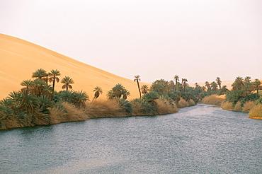Lake, Erg Ubari, Sahara desert, Fezzan, Libya, North Africa, Africa