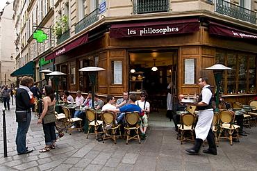 Les Philosophes Brasserie, Rue Vieille du Temple, Marais Quarter, Paris, France, Europe