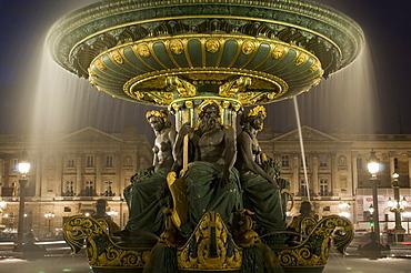 Place de la Concorde fountains at night, Paris, France, Europe