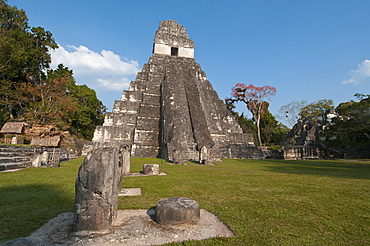 Gran Plaza and Temple I, Mayan archaeological site, Tikal, UNESCO World Heritage Site, Guatemala, Central America