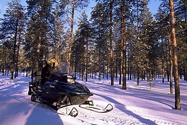 Woman driving snowmobile near Lulea, Lapland, Sweden, Scandinavia, Europe
