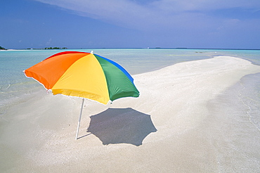 Umbrella and sandbar, North Male Atoll, Maldives, Indian Ocean, Asia