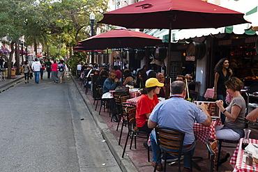 Outdoor cafe in Espanola Way, South Beach, Miami Beach, Florida, United States of America, North America