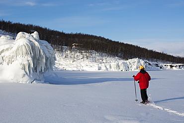 A woman walking across frozen Tornetrask Lake, Abisko National Park, Sweden, Scandinavia, Europe