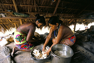Embera Indian cooking, Soberania Forest National Park, Panama, Central America