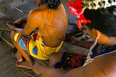 Body art of the Embera Indian women, Soberania Forest National Park, Panama, Central America