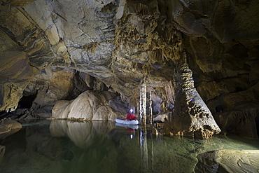 Underground lake in the Krizna Jama karst cave, Slovenia, Europe