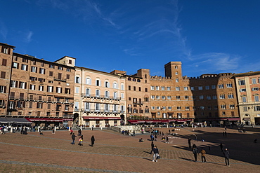 A view of Piazza del Campo, UNESCO World Heritage Site, Siena, Tuscany, Italy, Europe