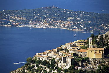 Eze village and Cap Ferrat in background, Alpes-Maritimes, Cote d'Azur, Provence, French Riviera, France, Mediterranean, Europe