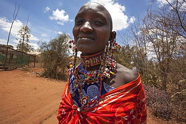 Maasai woman at the Predator Compensation Fund Pay Day, Mbirikani Group Ranch, Amboseli-Tsavo eco-system, Kenya, East Africa, Africa