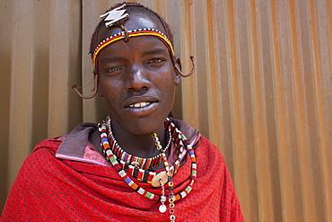 Maasai man at the Predator Compensation Fund Pay Day, Mbirikani Group Ranch, Amboseli-Tsavo eco-system, Kenya, East Africa, Africa