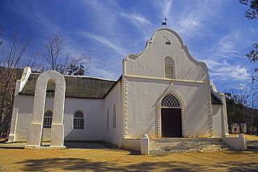 Church building at historic Moravian mission station, Wuppertal, Cedarberg, Western Cape, South Africa, Africa