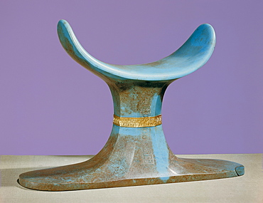 Opaque blue glass-paste funerary headrest with gold frieze, from the tomb of the pharaoh Tutankhamun, discovered in the Valley of the Kings, Thebes, Egypt, North Africa, Africa
