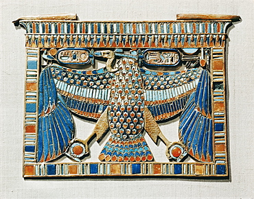 Pectoral decorated with the vulture of Upper Egypt, made of gold cloisonne inlaid with glass paste, from the tomb of the pharaoh Tutankhamun, discovered in the Valley of the Kings, Thebes, Egypt, North Africa, Africa
