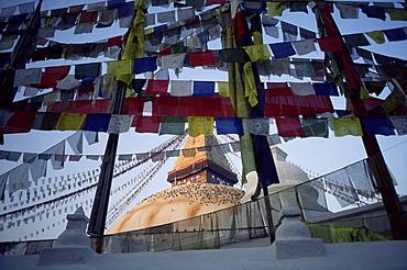 Bodnath (Bodhnath) (Boudhanath) stupa with Buddhist prayer flags, Kathmandu, Nepal, Asia
