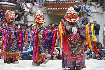 Lamas dancing at the Hemis Festival, Ladakh, India, Asia