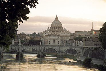 St. Peter's Basilica from across the Tiber River, Rome, Lazio,  Italy, Europe