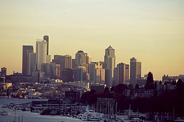 City skyline at sunset, Seattle, Washington, United States of America, North America