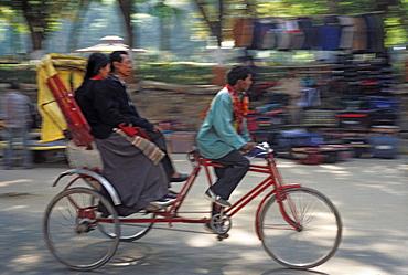 Trishaw carrying passengers at Bodhgaya, Bihar state, India, Asia