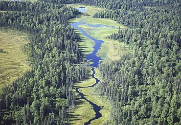 Aerial of river, Denali National Park, Alaska, United States of America, North America