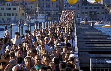 Bridge crossing, Redentore feast, Venice, Veneto, Italy