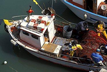 The old wet dock, fishing boat, Livorno, Tuscany, Italy