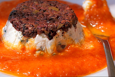Robiola flan with pepper sauce, Roccaverano, Piedmont, Italy