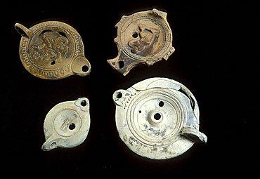 Roman oil lamps, Sicily, Italy