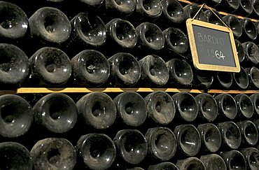 Old bottles, Mascarello cellar, Barolo, Piedmont, Italy.