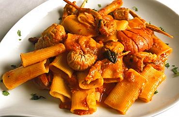 Pasta with crawfish, Il Giardino restaurant, Ancona, Marche, Italy.