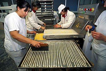 Preparation of breadstick, Il Germoglio bakery, Acqui Terme, Piedmont, Italy.