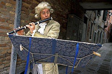 Flautist, Venice, Veneto, Italy