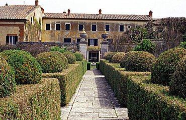 Garden of Villa la Foce, Chianciano Terme, Siena, Tuscany, Italy.