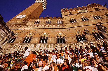 Sitting at the City Hall for the Palio, Siena, Tuscany, Italy