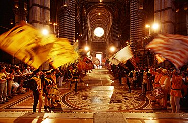 Celebrations inside the Cathedral after the victory, Siena, Tuscany, Italy