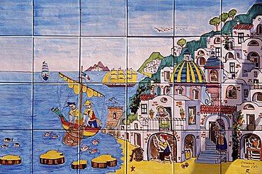 Ceramics paited tiles, Positano, Amalfi Coast, Campania, Italy