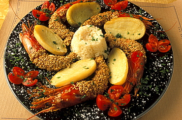 Crayfishes with sesame, Antica Focacceria restaurant, Palermo, Sicily, Italy