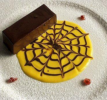 Burnet with chocolate, Le due Lanterne restaurant, Nizza Monferrato, Piedmont, Italy.