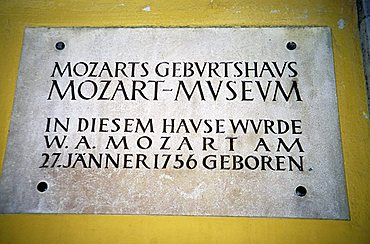 Sign of Mozart's Birthplace in Getreidegasse, Salzburg, Austria, Europe