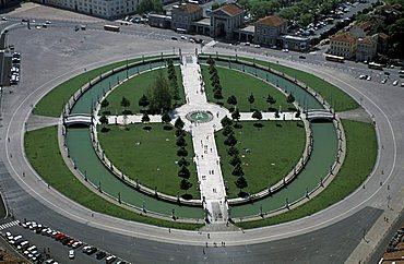 Prato della Valle aerial view, Padua, Veneto, Italy