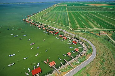 Aerial view of delta of the Po near Scardovari bay, Porto Tolle, Veneto, Italy