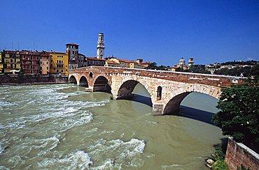 Ponte di Pietra bridge on Adige River, Verona, Veneto, Italy