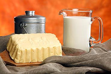 Malga butter and milk, Trentino Alto Adige, Italy