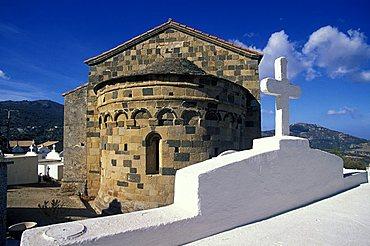 Church of the Trinity inside Aregno cemetery, Santa Reparata di Balagna district, Corsica island, France, Europe