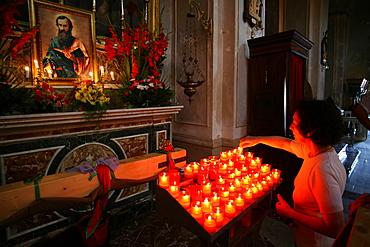 Prayer, San Paolo feast, Palazzolo Acreide, Sicily, Italy