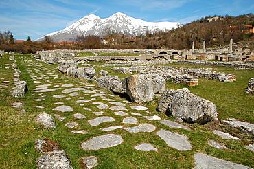 Alba Fucens archaeological area, Monte Velino, natural reserve, Massa d'Albe, Abruzzo, Italy