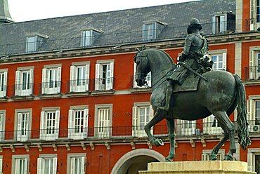 Statue of Philip III in Plaza Mayor, Madrid, Spain, Europe